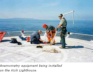 Anemometry equipment being installed on the Kish Lighthouse